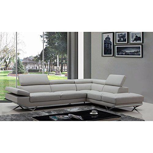 Bsd National Supplies Walden Modern Light Grey Leather L Shape