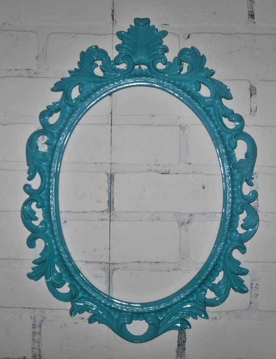 ornate baroque frame hollywood regency turquoise