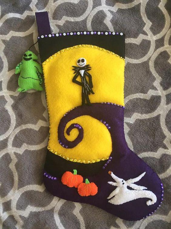 Bucilla Inspired Nightmare Before Christmas Jack Skellington Disney Handmade Felt Stocking: