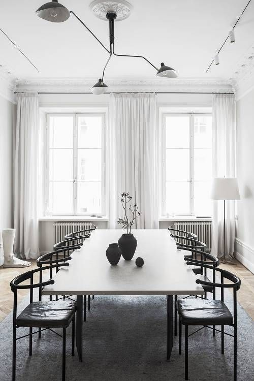 Scandinavian Interior Design Will Always Be In How To Get The Look Here Scandinavian Dining Room Black And White Dining Room Minimalist Dining Room