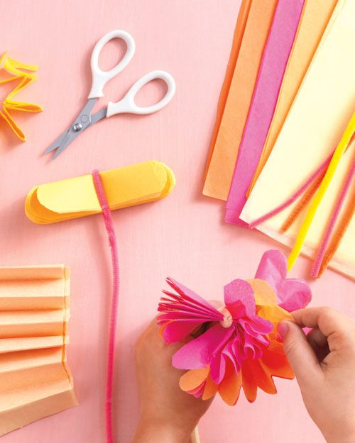 Make Mom a sunny arrangement of tissue paper posies that will stay fresh forever.