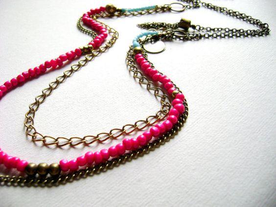 Roze turquoise multi gelaagde bohemian ketting door DivinaLocura