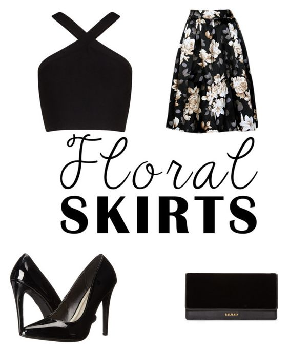 """""""flowers in black"""" by redlove13 ❤ liked on Polyvore featuring BCBGMAXAZRIA, Michael Antonio, Balmain and Floralskirts"""