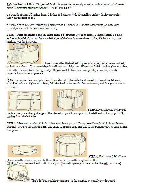 Instructions for making a zafu meditation pillow