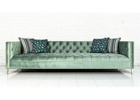 New Deep Sofa in Aqua Velvet | ModShop