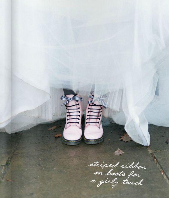 Pastel pink doc martens with wedding dress. Modern punk rock bride.