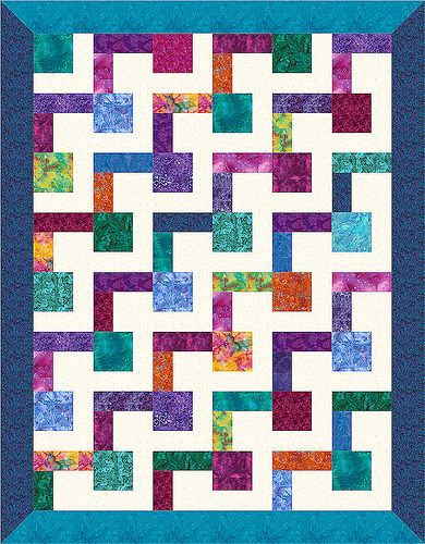 L-Block Quilt 21   Flickr - Photo Sharing! Consists of 48 quilt blocks half with square light, 2 rectangles dark for 24 and reverse for other 24.  Great for batiks!