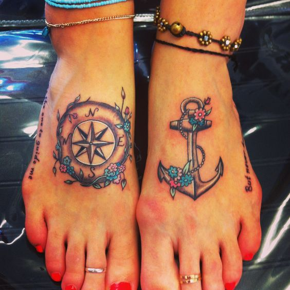 compass anchor vintage matching foot inkd
