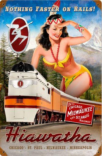 Railroad Tin Sign - Hiawatha Milwaukee Rail Girl