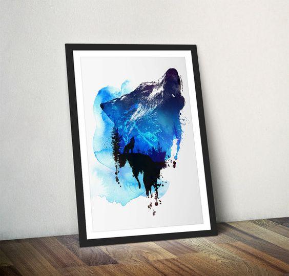 Illustration de Wolf Art Print loup Wall Decor Wolf par Wraptious
