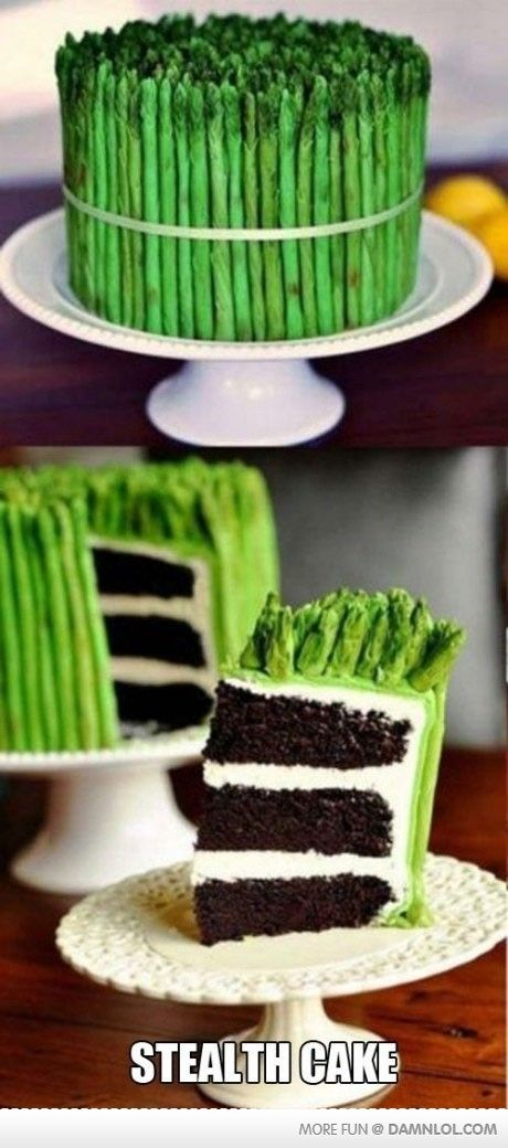 "I'm only repinning this because the ""Stealth Cake"" cracked me up.  The rest just looks disgusting (and I like asparagus)"