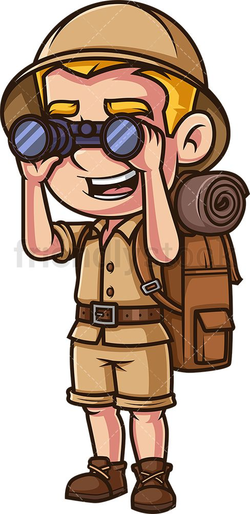 Explorer Looking Through Binoculars Cartoon Clipart Vector Friendlystock In 2020 Cartoon Clip Art Character Design Cartoon Illustration