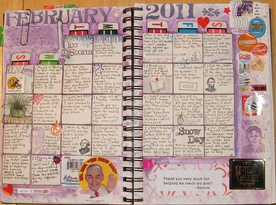 journal calendar Organised Balanced Mindful Pinterest Each
