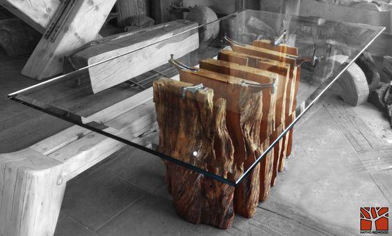 Nativo Redwood. Mesa comedor con base de tronco de laurel seccionado con soportes originales de fierro forjado con reguladores de nivel, con cubierta de cristal de 1.00x2.00x 19 mm de espesor. www.facebook.com/nativoredwoodsa