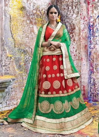 Red Net Circular Lehenga Choli ,Indian Dresses