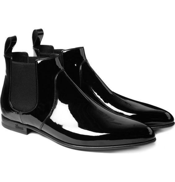 black patent leather gucci chelsea boots with elasticated