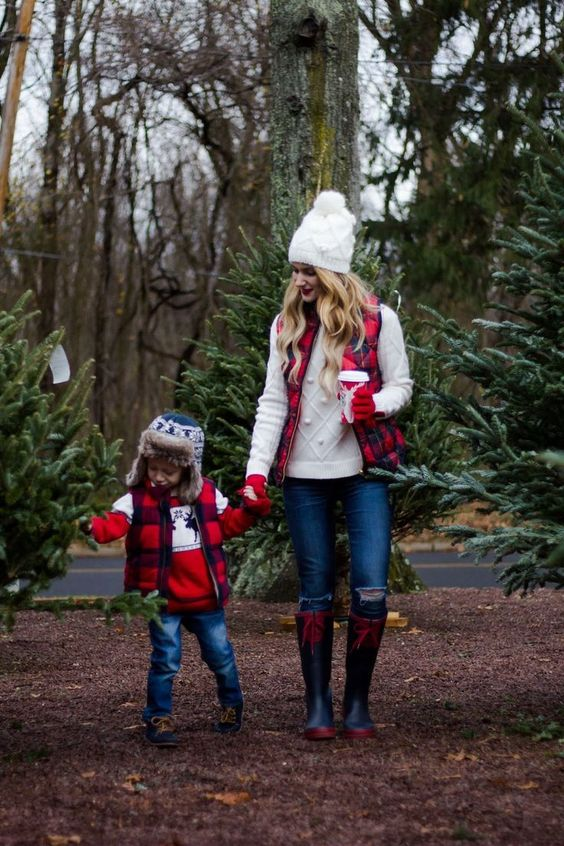 Plaid vest cozy sweater matching hat jeans boots cute kid