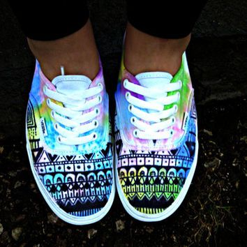 Watercolor Tie Dye Tribal Vans. EVERYONE I FOUND THIS ON WANELO! ITS AN AMAZING SITE THAT YOU CAN BUY A BUNCH OF COOL STUFF!