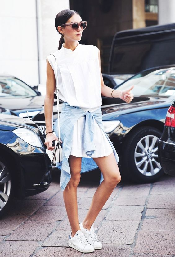 7 Warm-Weather Outfits You Can Always Count On via @WhoWhatWear Shirtdress + Chambray Shirt: