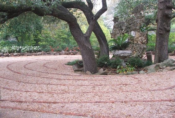 Weatherford Park Labyrinth is almost Feng shui in its design. Love the central natural goal.