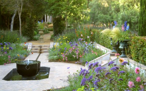 I like everything, except the cauldron/pot. Sunken garden with flower display areas and showcase fountain: