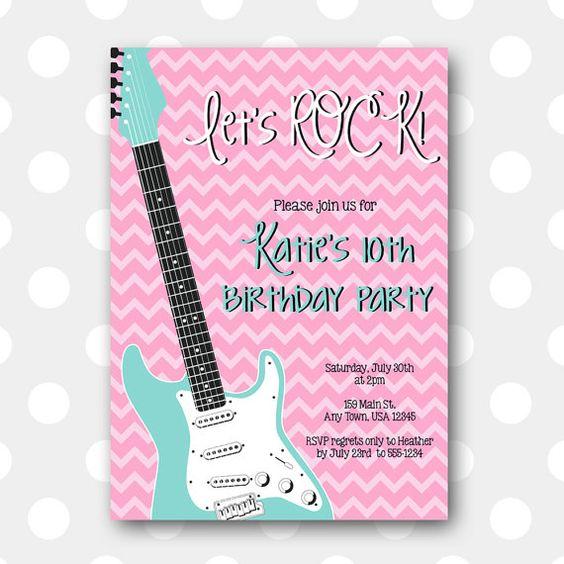 Printable Birthday Party Invitation - Let's Rock