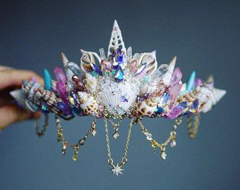 Pin By Umm On Fantasy Jewelry In 2020 Mermaid Crown Shell Crowns Crystal Crown