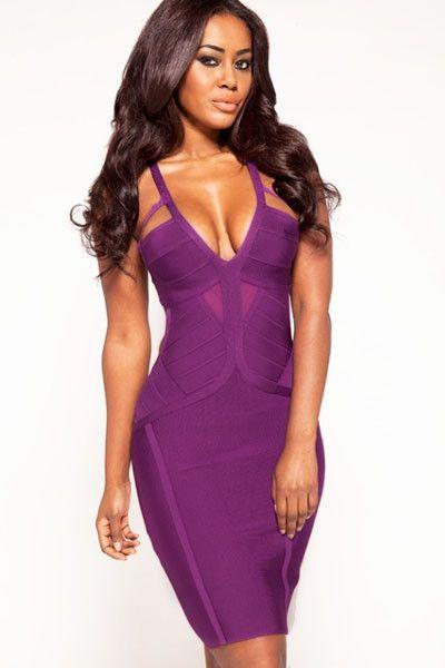 28151 Purple Textured Cutout Bandage Dress