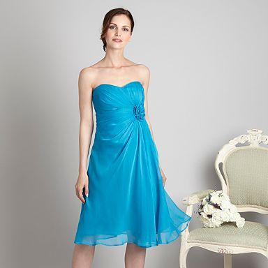 Turquoise four-rose corsage bandeau dress - Bridesmaid dresses - Dresses - Women -