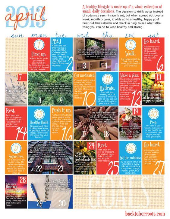 Wellness calendar April 2013 (free printable)