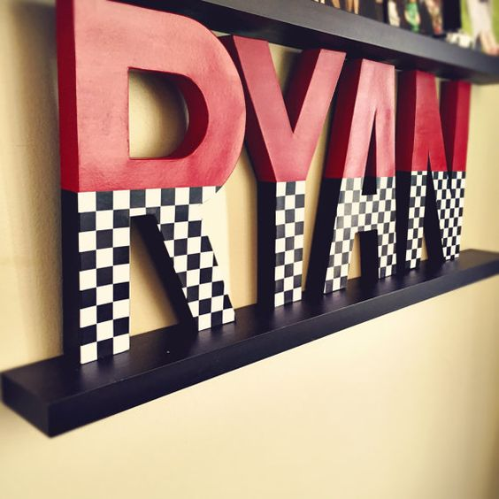 Race car letters checkerboard letters large party by Ajobebe