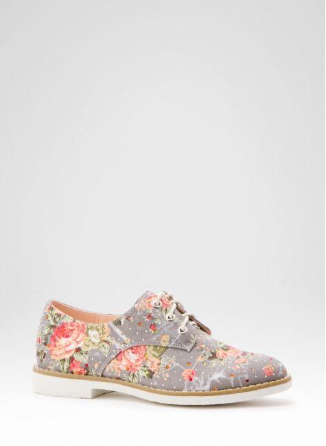 Półbuty w Kwiaty Annie Grey Flats