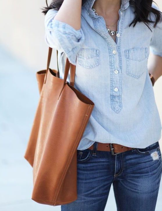 Chambray, denim, and cognac leather classics