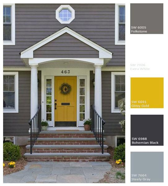 Image Result For Gray House Yellow Door White Trim Black Shutters
