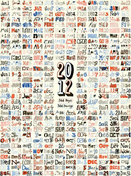 2012 Calendar // 366 Days // 366 Drawings by Matt Hunsberger. Part of Fresh from the Dairy: 2012 Calendars.