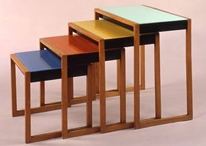 A set of four stacking tables, designed by Josef Albers