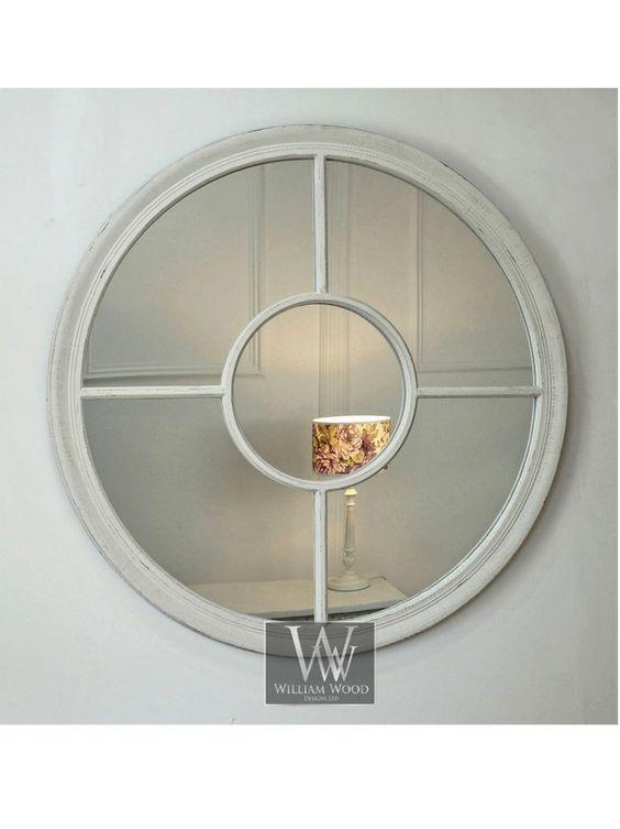 Rennes white shabby chic round window wall mirror 28 x 28 for Window design mirror
