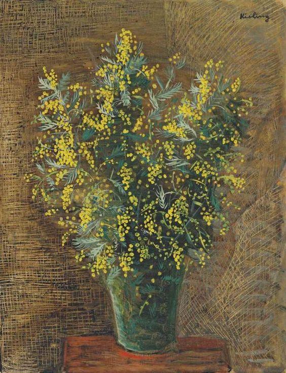 Moïse Kisling, born Mojżesz Kisling (1891-1953) — Bouquets of Mimosa, 1920  (740×965):