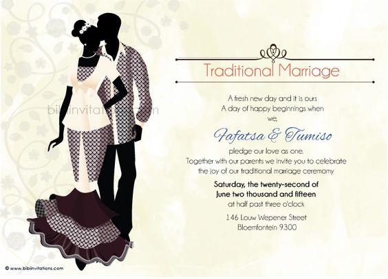 Typical Wedding Invitation Wording: Ratu Sotho Traditional Wedding Invitation
