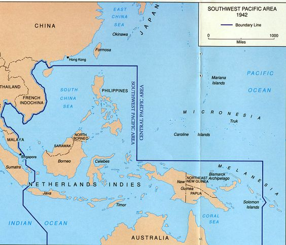 Map illustrating New Guinea's strategic location in the Southwest Pacific in 1942, from the U.S. Army Center of Military History brochure 'Papua'.