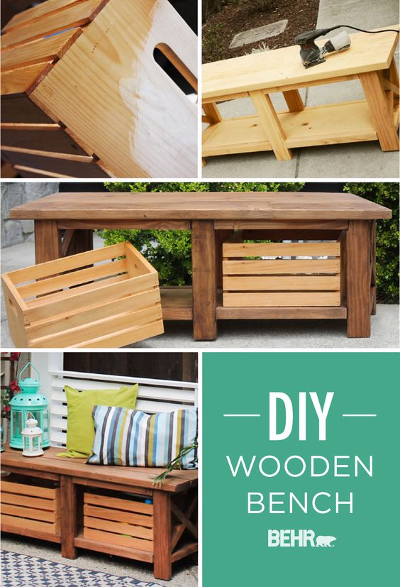 We love exterior furniture that pulls double duty not for Wood crate bench