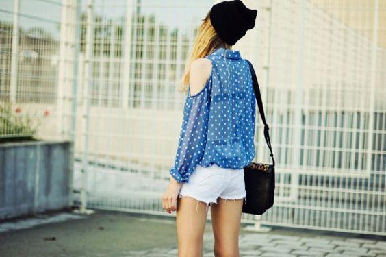 #sheer #polkadots #cutout #shirt