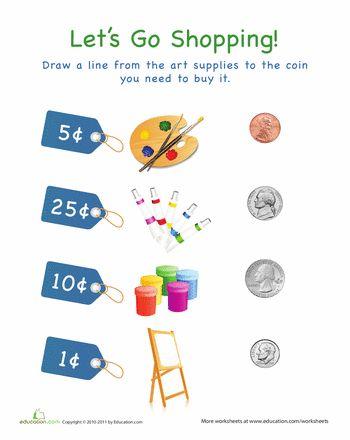 math worksheet : let s go shopping! art supplies  worksheets preschool math and  : Math Worksheets To Go