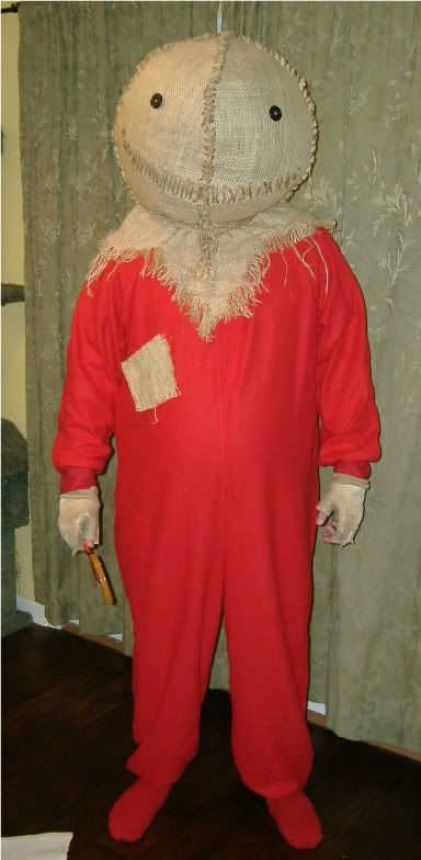 Sam Hein from the movie Trick r Treat. Costume is for a full sized adult man - but it turned out very nice and creepy!