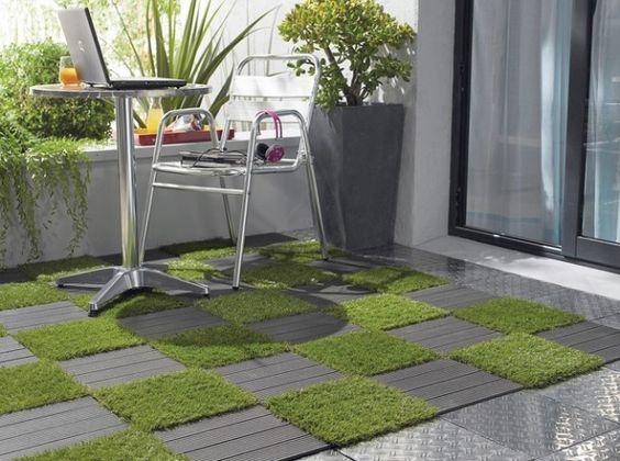 Terrasse bois et gazon artificiel combin pour une deco originale de votre - Gazon artificiel terrasse ...