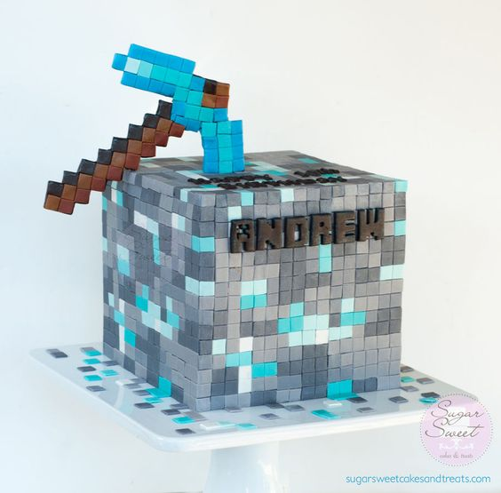 Minecraft Birthday Cake ~ Diamond Ore Cube with Diamond Pick: