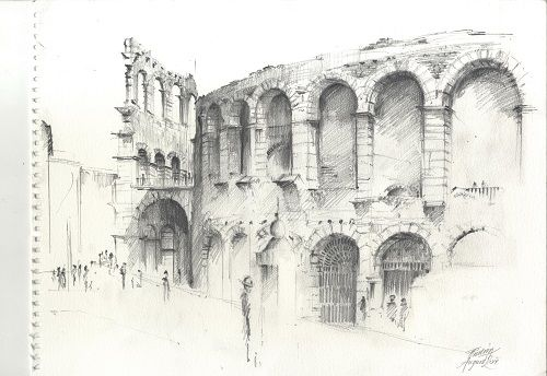 The Roman Amphitheatre in Verona by Tim Gosling.