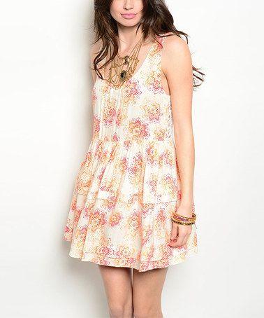 Look at this #zulilyfind! Cream & Coral Floral Drop-Waist Dress #zulilyfinds