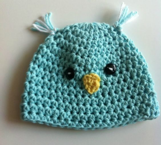 Crochet Baby Bird Hat, Boy, Halloween, Photo Prop