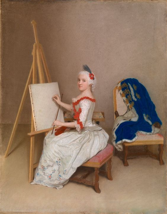 Princess Caroline Louise of Hesse-Darmstadt, Liotard,1745, (1723-1783), Margravine of Baden, a dilettante artist, scientist, collector.Learned, spoke 5 languages, corresponded w/Voltaire and made Karlsruhe a cultural center. Member of the court orchestra, painted in water colours and had a laboratory set up in the Karlsruhe palace. Her collections the foundation of the Staatliche Kunsthalle Karlsruhe and the Karlsruhe museum of natural science.